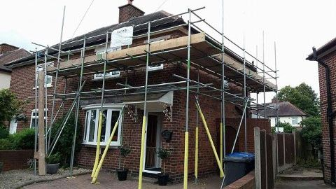 Our scaffolding on a customers house.