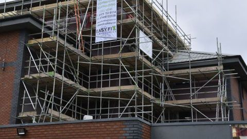 Our scaffolding on a building in Birmingham.